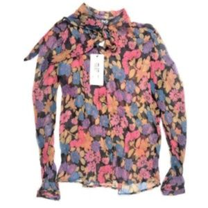 Dolce & Gabbana 8 42 Sheer Tie Neck Floral Blouse